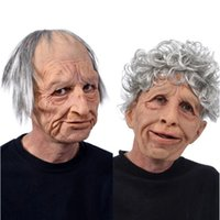 Funny Realistic Latex Old Man Woman Mask with Hair Halloween Cosplay Fancy Dress Head Rubber Party Costumes Villain Joke Props