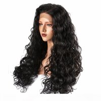 Cheap Curly Synthetic Lace Front Wigs For White Women Long Length Glueless 180 Density 1B Black Color Kinky Curly Synthetic Wig For Women