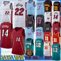 Vintange كرة السلة الفانيلة Trae JA 12 Morant 55 Robinson 11 Young 2020 New Jerseys Jimmy Tyler Butler 22 Herro 7 Dragic 13 Adebayo سريعة جافة