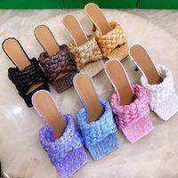 2021 Estilo Europeu Tecido Sandálias de Salto Alto Peep Peep Toe Slim Heel Sheepskin Moda Verão Luxo Mulheres Vestido Sapatos Chinelos Sexy Cadeia série, com caixa, tamanho 34-42