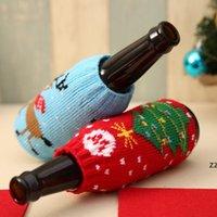 Weihnachten Schneemann Hirsch Stricksäcke Bier Weinflasche Abdeckung Sets Weihnachten Dekoration Liefert HWF9914