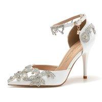 Обувь платье Baoyafang Bridal Свадебные моды Сандалии Летний Тонкий Каблук Кристалл Женщина Женщина Высокие Насосы Жемчужные Женщины