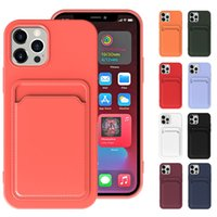 Card Slot Cell Phone Cases Liquid Silicone TPU Wallet Case Cover Shockproof Bumper For iPhone 13 Pro Max 12 Mini X XS 7 8 Plus 6 6S