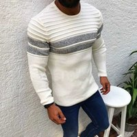 Men's Sweaters Striped Pullover Sweater Men Autumn Mens O Neck Knitted Pull Wear Casual Slim Fit Winter Patchwork Knittwear Basic Sweater