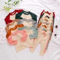 Baby Designs Kleidung Sets Infant Pit Strip Splicing Multi Color Draw String Langarm T-Shirt Hose Anzug Kleidung Casual Set YL567