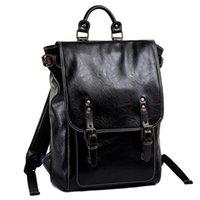 Backpack Computer Laptop Men Brand PU Leather Backbag Women School Bookbag Solid Black Bag Pack Male Casual Travel Back 2021