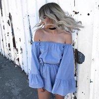 الربيع / الصيف 2021 كلمة الكتف الأزرق اللون الأبيض تكدرت الأكمام الرباط الصلبة بذلة المرأة حللا السروال القصير