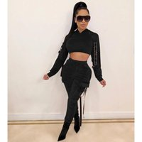 Two Piece Dress AHVIT Sexy Solid Color Women Set Long Sleeve Hooede Crop Top And Hight Waist Pockets Pants CM635