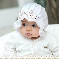 Caps & Hats 1 Pcs Of Baby Sun Hat Pink White Born Girl Boy Summer Polka Dot Cute Silk And Lace Lovely Bow-knot Beanie