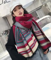 Long Shawl oversize scarves women's winter Designer scarf warmth and thick imitation cashmere color matching neckerchief ring pashmina