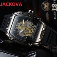 Montre de Luxe Mens Sports Wristwatch 43mm Quartz Movement Male Time Clock Watch with Rubber Band men silicone belt skeleton designer top watches