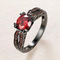 Роскошные женские красные хрустальные каменные кольца очарование 14кт черные золотые обручальные кольца для женщин изысканные невесты круглый циркон вовлечение