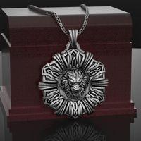 Collier Sier Lion personnalité Nelace Nelace Angry Lion Médaillon Guerrier Pendentif Nelace Bijoux Mythe