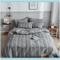 اللوازم المنسوجات الرئيسية جاردن 2021 رمادي شريط الفراش مجموعات القطن الخالص بسيط والأزياء الكتان لحاف مجموعة أب الجانب ورقة السرير وسادة