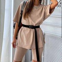 Shyloli Rahat Katı Renk O-Boyun İki Parçalı Takım Elbise Lady Serin Kemer Kadın Seti Ev Gevşek Spor Moda Eğlence Takım Yaz 2021