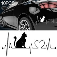 wtyd for stickers 10 PCS Cat Heartbeat Lifeline Shape Vinyl Decal Creative Car Stickers Car Styling Truck Accessories Size 265x12cm