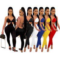 Nouveaux femmes Combinaisons Col V-Col V-Col Femmes Open-Back Pantalon sexy Nightclub Oneies Sling Pantalons Fashion Casual Solid Rompeurs D352