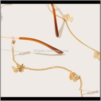 Cadenas de anteojos de la moda Aesoramiento de la moda Entrega de gota 2021 Alloy Butterfly Cable de gafas Cadena de gafas Cadena de espectáculo Cadena de vidrio Sunglass Ojo de cuerda