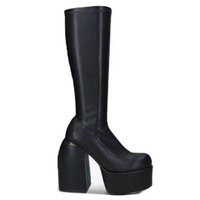 lady sheepskin leather square 14CM chunky high heels Knight Boots women Half booties Square toes Platform short plush wedding shoes zipper size 35-43