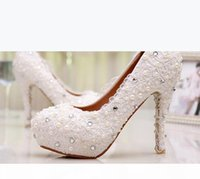 White Beautiful Vogue Lace Pearl High Heels Elegant Wedding Bridal Shoes Wedding Bridesmaid Shoes