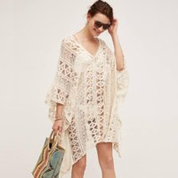 Tunic Cotton Cover-ups 2021 White Sexy Hollow Out V-Neck Beach Mini Dress Summer Women Wear Swim Suit Cover Up Sarong Women's Swimwear