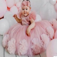 Girl's Dresses Blush Pink Flower Girl And Mother's Dress With Big Handmade Flowers Party Pageant Birthday Gowns