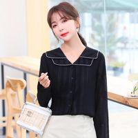 Women's Blouses & Shirts COIGARSAM Full Sleeve Shirt Womens Tops Spring Turn-down Collar Women Black 8361
