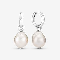 Authentic 925 Sterling Silver Freshwater Cultured Baroque Pearl Hoop Earrings Fashion Wedding Jewelry Accessories For Women Gift