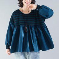 Johnature Woman Vintage Beatwork T-рубашки вязаные O-образным вырезом фонарь рукав 2021 осень свободно женский случайные корейские женские футболки