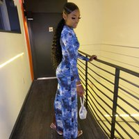 Casual Dresses Wind 2021 Women's Fashion Long Sleeve Round Neck Printing Bag Hip Split Dress Female Yc