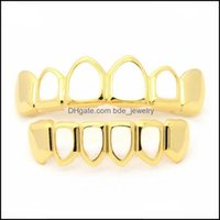 Grillz, Dental Body Jewelrygold Grillz Set High Quality Mens Hip Hop Jewelry Rose Gold Sier Black Hollow Teeth Grills Drop Delivery 2021 Cbm