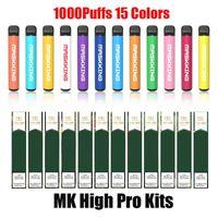 Maskking High GT Pro Disaposable E-cigarettes Device Kit 1000 Puffs 650mAh Battery 2ml 3.5ml Prefilled Cartridge Pod Mk Stick Vape Pen vs Bar Plus Max Slim Zero