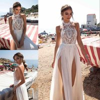 Berta Bohemian Backless 웨딩 드레스 레이스 Appliqued A 라인 홀터 넥 스플릿 사이드 브라 가운 시폰 Vestido de Novia