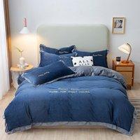 Bedding Sets MICHIKO Home Textiles Luxury Simple Duvet Cover Bed Sheet Pillowcase Pure Cotton Double Four Piece Set