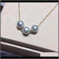 Цепи ожерелья подвески ювелирные изделия Drop Доставка 2021 мадалена Сарара 7-8 мм соленая жемчужина 18 тыс. Золотая цепь ожерелье из тонкого блеска высокого качества