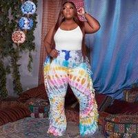 Pantalon de taille plus ZJFZML ZZ Femmes Habitat Crêt Cravate Colory Tassel Côté Spliché Flare Bell Pantalons De Bell Drop Wholesale