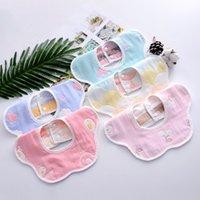 Baby Towel Bibs Newborn Petal Bib Pure Cotton 6 Layer Gauze Cartoon Printing Infant 360 Degree Spinning Burp Cloths Z4369