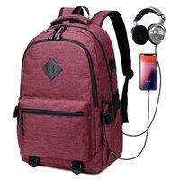 Backpack USB Port And Headphone Hole Men Middle College Students Backpacks School Bag For Teenagers Girls Boys Bookbag