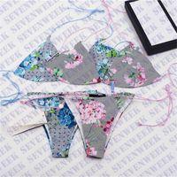 Donne Sexy Bikini Swimwear Due pezzi Set Set classico Lettera Classica Stampa Signore Costume da bagno Stile estate Spiaggia da estate Bikini