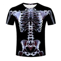 Мужские футболки рентгеновские скелет 3D печать лето 2021 Футболка Harajuku Avant-Garde Негабаритный подросток хип-хоп с коротким рукавом