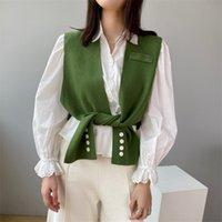 LANMREM Profil Şal Örgü Sokak Giyim Katı Moda Kolsuz Hırka Çeşitli Şekiller ile 2A398 210907