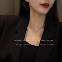 Pendant Necklaces Double Layer Titanium Steel Clavicle Chain Choker Necklace Fashion Zirconia Round Strip Collar For Women