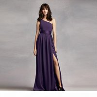 One Shoulder Dress with Satin Sash VW360215 Bridesmaid Dresses with Sash Front Slit Wedding Party Dress Formal Gowns