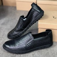 Classic Casual Woven Slip Loafer Shoes Leather Boat Style On Mens Rubber Box Summer With Sole Puwdw