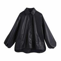 PUWD Vintage Femme Surdimensionnée En Cuir Noir Mode Mode Dames Automne Lâche Lâche Batwing Sleeve Vêtements de dessus Femme Casual Veste 210522