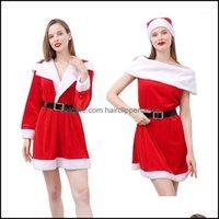 Decorazioni Forniture festive Home Gardenadt Outfit Moda Moda Donna Babbo Natale Babbo Natale e Cappello Vestito Natale Party Cosplay Dress Costume1 Drop del