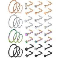 Nose Rings Studs Piercing Jewelry Hoops Stud Screws 316L Stainless Steel for Women Men