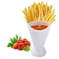 자체 스탠드 2 in 1 프라이팬 튀김 컵 감자 도구 식기 튀김 칩 칩 홀더 컵 그릇