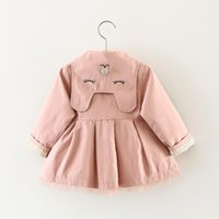 Autumn Fashion Baby Girls Cute Cat Embroidered Lapel Coat Windbreaker Children Clothing Double-breasted Trench