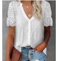 Women's Blouses & Shirts Fashion V-neck White Lace Patchwork Womens Tops And 2021 Summer Casual Office Women Tee Shirt Top Chemise Femme Blo